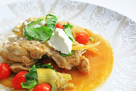 chicken with artichokes tomato and goat cheese recipe